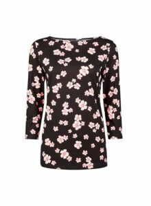 Womens Black Ditsy Print 3/4 Sleeve Cotton Top- Black, Black