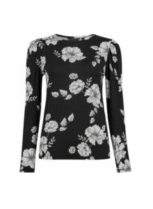 Womens Monochrome Floral Print Puff Sleeve Top- Black, Black