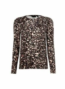 Womens Multi Colour Splash Print Puff Sleeve Top- Black, Black