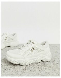 Public Desire Rexa hiking detail trainers in white