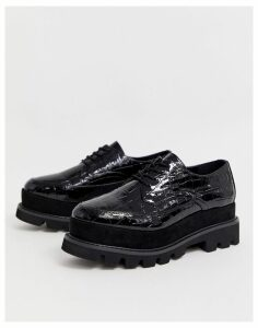 Truffle Collection chunky lace up flat shoes in black