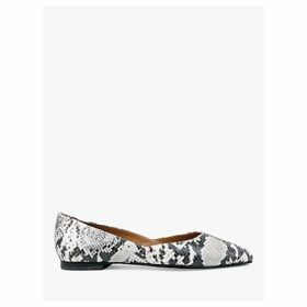 hush Berwick Leather Stud Detail Ballerina Pumps, Snake Print/Silver