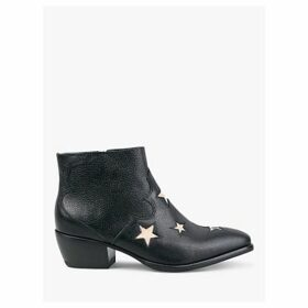 hush Camber Leather Star Ankle Boots, Black/Snake