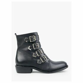 hush Roslin Leather Biker Ankle Boots, Black/Gold