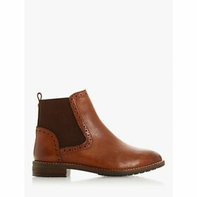 Dune Wide Fit Quant Leather Trimmed Ankle Boots