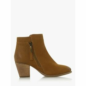 Dune Pontoon Wide Fit Nubuck Stacked Heel Ankle Boots