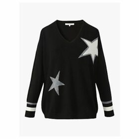 Gerard Darel Sidony Wool Mix Star Jumper, Black