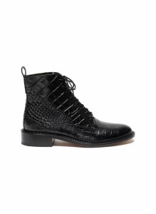 'Cabria' croc embossed leather combat boots