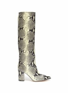 Snake embossed leather knee high boots