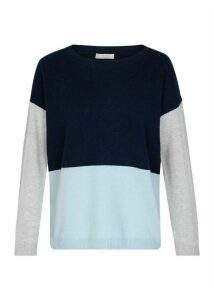 Sofia Wool Cashmere Sweater Navy Blue Grey
