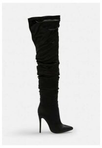 Black Satin Ruched Long Slit Boots, Black