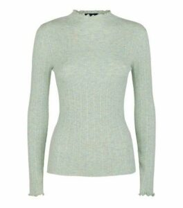 Mint Green Marl Ribbed Frill Trim Jumper New Look
