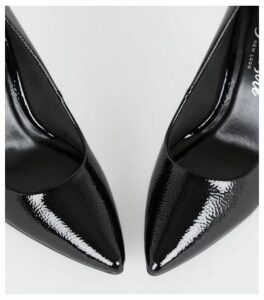 Black Crinkle Patent Pointed Courts New Look Vegan