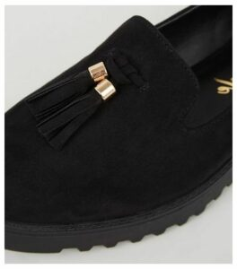 Black Suedette Chunky Tassel Loafers New Look