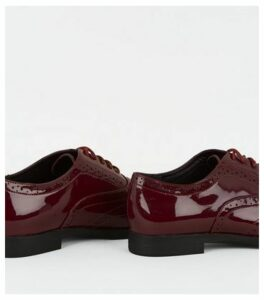 Wide Fit Dark Red Patent Lace Up Brogues New Look