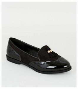 Wide Fit Black Suedette Tassel Loafers New Look