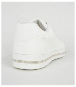 White Leather-Look Diamanté Trim Trainers New Look