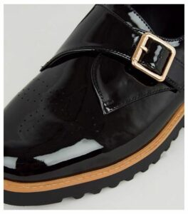 Black Patent Chunky Monk Shoes New Look