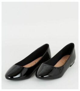Wide Fit Black Patent Metal Trim Ballet Pumps New Look Vegan
