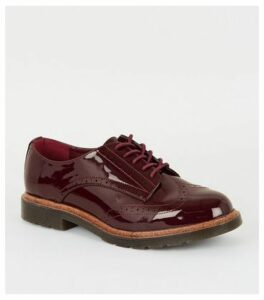 Burgundy Patent Lace Up Brogues New Look Vegan