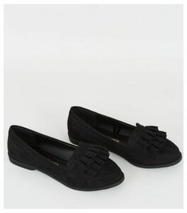 Wide Fit Black Suedette Frill Trim Loafers New Look