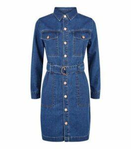 Petite Blue Denim Shirt Dress New Look