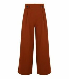 JDY Rust Button Front Crop Trousers New Look