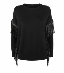 Cameo Rose Black Studded Tassel Trim Jumper New Look