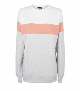 Pale Pink Colour Block Sweatshirt New Look