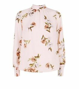 Pink Floral Chiffon Roll Neck Blouse New Look