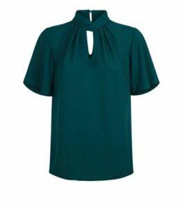 Dark Green Chiffon Twist Pleat Neck Blouse New Look