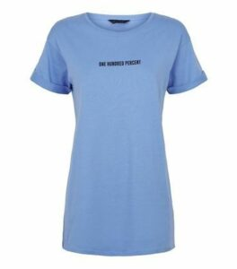 Bright Blue One Hundred Percent Slogan T-Shirt New Look
