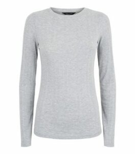 Grey Marl Ribbed Stretch Long Sleeve T-Shirt New Look