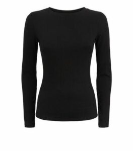 Petite Black Ribbed Long Sleeve Top New Look