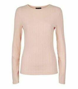 Pale Pink Ribbed Stretch Long Sleeve T-Shirt New Look