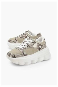 Womens Snake Bubble Sole Trainers - grey - 7, Grey