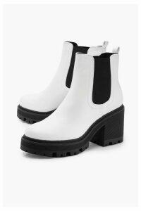 Womens Chunky Block Heel Chelsea Boots - white - 8, White