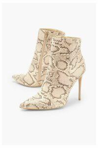 Womens Snake Stiletto Heel Pointed Toe Ankle Boots - beige - 8, Beige