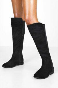Womens Flat Elastic Back Knee High Boots - black - 8, Black