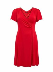 **Scarlett & Jo Red Crepe Fit And Flare Dress, Red