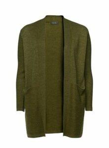 Khaki Longline Stitch Cardigan, Green