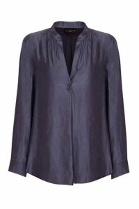 **Live Unlimited Navy Blue Gathered Neck Detail Satin Shirt, Navy