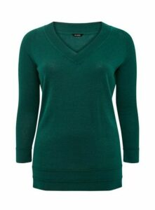 Green V-Neck Jumper, Green