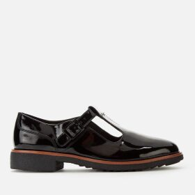 Clarks Women's Griffin Town Patent T-Bar Flats - Black - UK 8