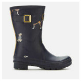 Joules Women's Molly Mid Height Printed Wellies - Navy Harbour Dogs - UK 8