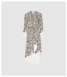 Reiss Mia - Feather Printed Midi Dress in White, Womens, Size 16