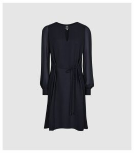 Reiss Leah - Metal Trim Mini Dress in Navy, Womens, Size 16