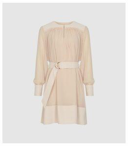Reiss Finn - Semi Sheer Belted Smock Dress in Nude, Womens, Size 16