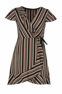 Womens Stripe Wrap Ruffle Mini Tea Dress - Pink - 16, Pink