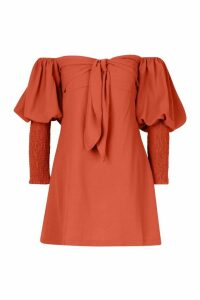 Womens Off The Shoulder Puff Sleeve Shift Dress - pink - 16, Pink